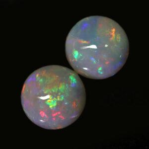 7.00 MM Round Australian Opal and Fire Opal Gemstone Oval Cut Cabochon october birthstone